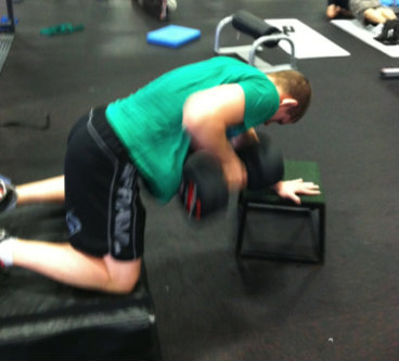 Joe Lauzon performing one-arm dumbbell rows