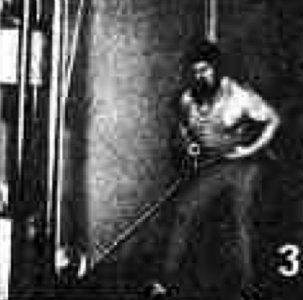 Valentin Dikul showing tug of war rows