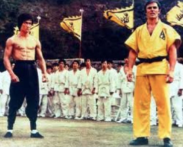 Bruce Lee and John Saxon in Enter the Dragon.