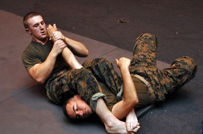 Marine performing armbar