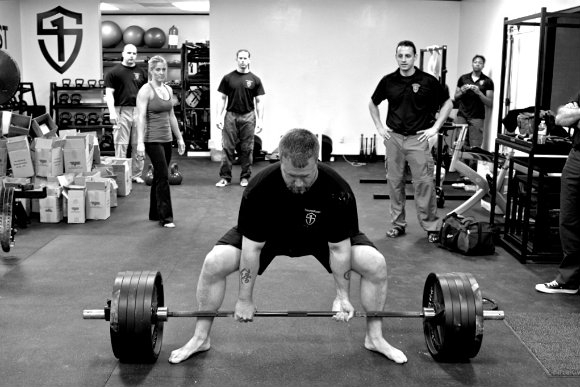 Derek Miller deadlifts