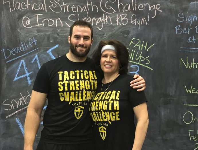 """I'd like to thank this guy for believing his mamma could do this strength stuff. In 6 months I've increased the amount of kettlebell snatches done for 5 minutes from 83 to 103 with a 12 kilo bell. AND I've increased my dead lift from 160 pounds to 195!!! Thanks for pushing, believing in and keeping me healthy Eric Grimsley!"" — Eric Grimsley's mom"