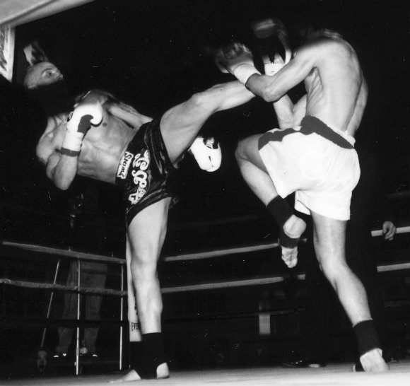 Steve as a young fighter in the ring in 2001