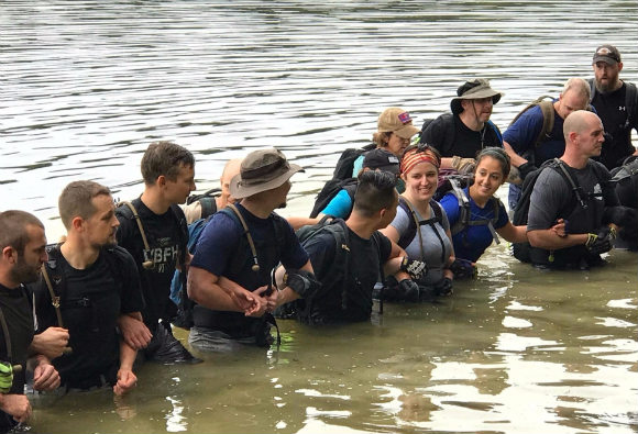 Teamwork at the reservoir during our GORUCK Heavy.