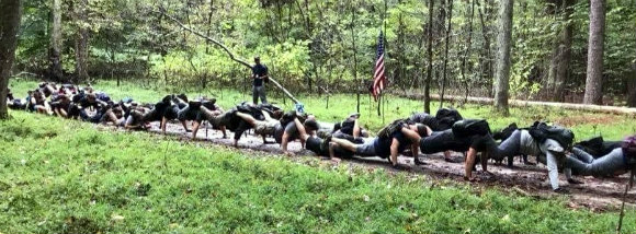 Team push-ups during our GORUCK event.