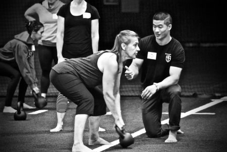 Coaching kettlebell swing at SFG