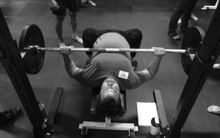 bottom position of the barbell bench press
