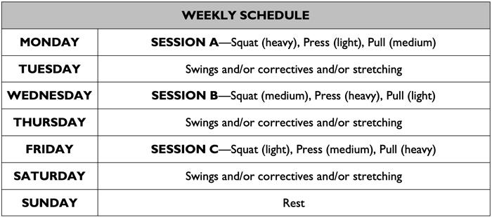 Strength Plan Weekly Schedule