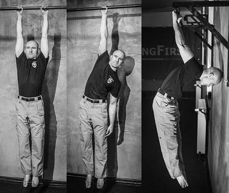 Three hanging moves from the bar