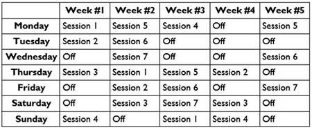 The Novocaine Training sample schedule