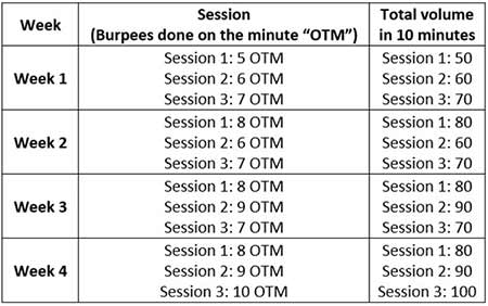 Burpees and swings weekly progression