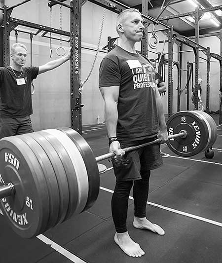 A candidate performing the deadlift