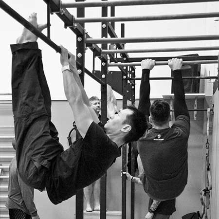 A candidate performing the hanging leg raise